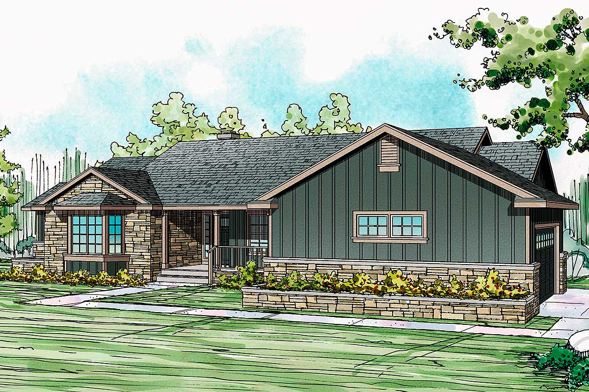 Ranch home plan with stone and board and batten exterior for Board and batten home plans