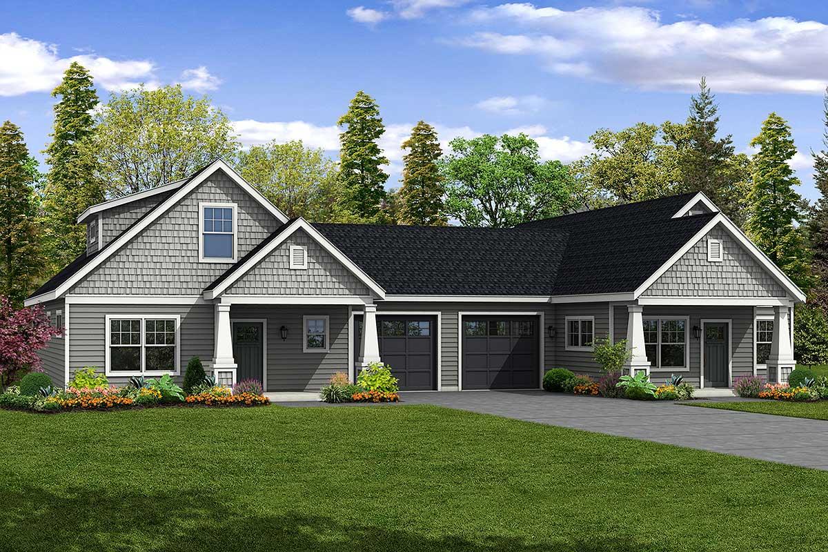 Charming cottage duplex with two unique units 72901da for Duplex cottage plans