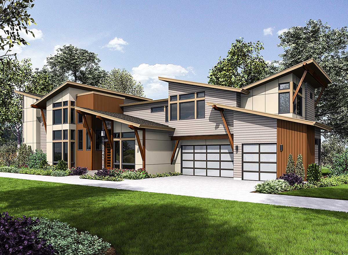 Angular Modern Home Plan With Vaulted Bonus Room - 23695JD ...