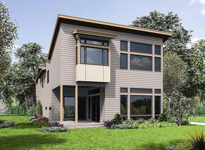Angular Modern Home Plan With Vaulted Bonus Room - 23695JD ...