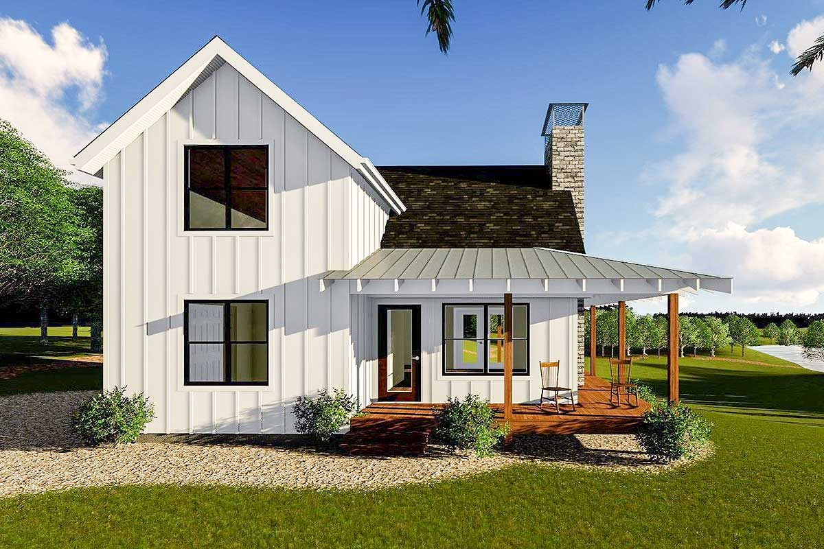 Modern farmhouse cabin with upstairs loft 62690dj for Contemporary farmhouse floor plans