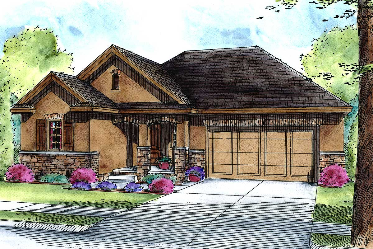 Atrium Ranch House Plan With Pocket Office 42508db