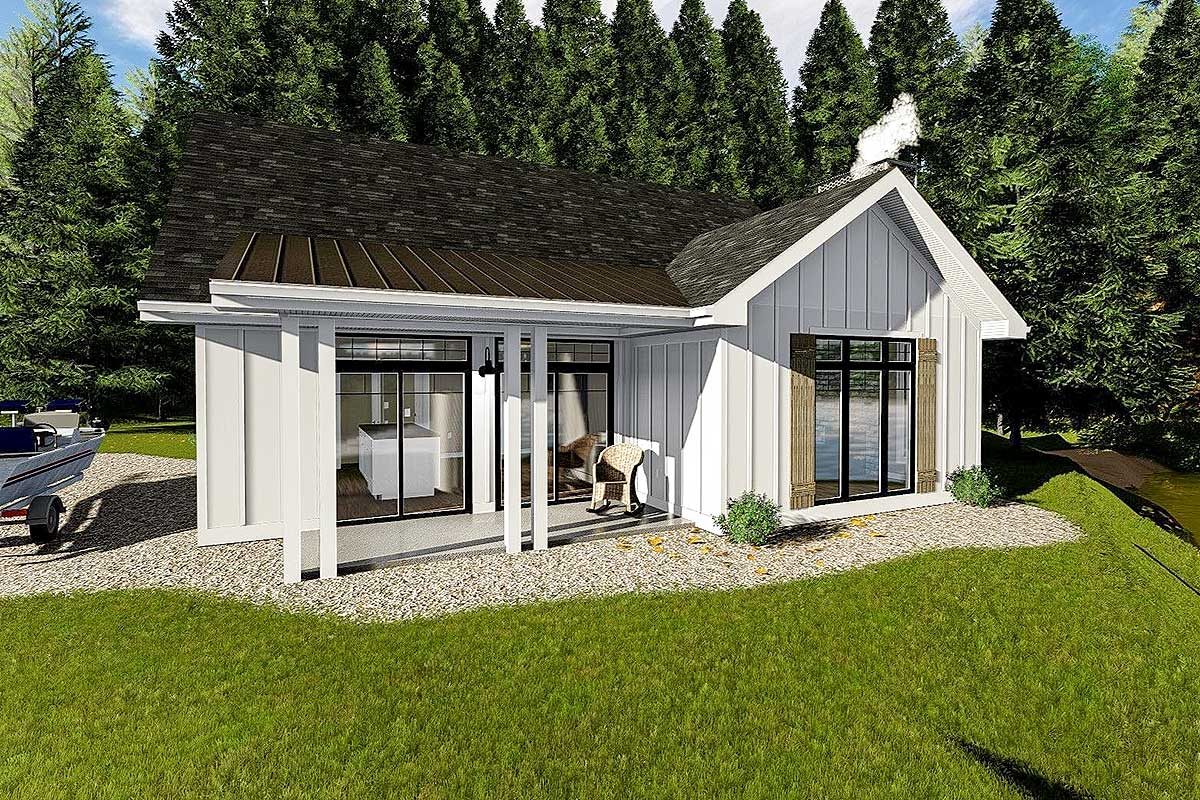 Cozy cottage with bunk room 62712dj architectural for Bunk house plans