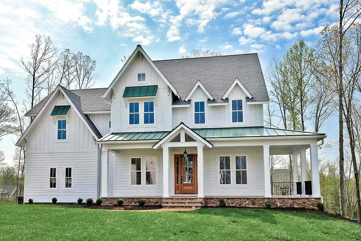 Modern Farmhouse With L-Shaped Front Porch