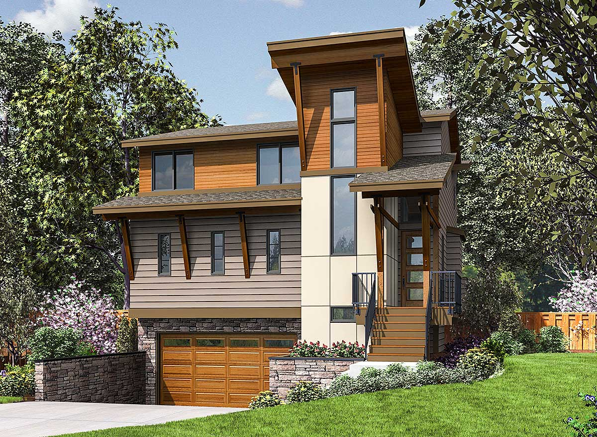 Three story modern house plan designed for the narrow for Modern home plans for narrow lots