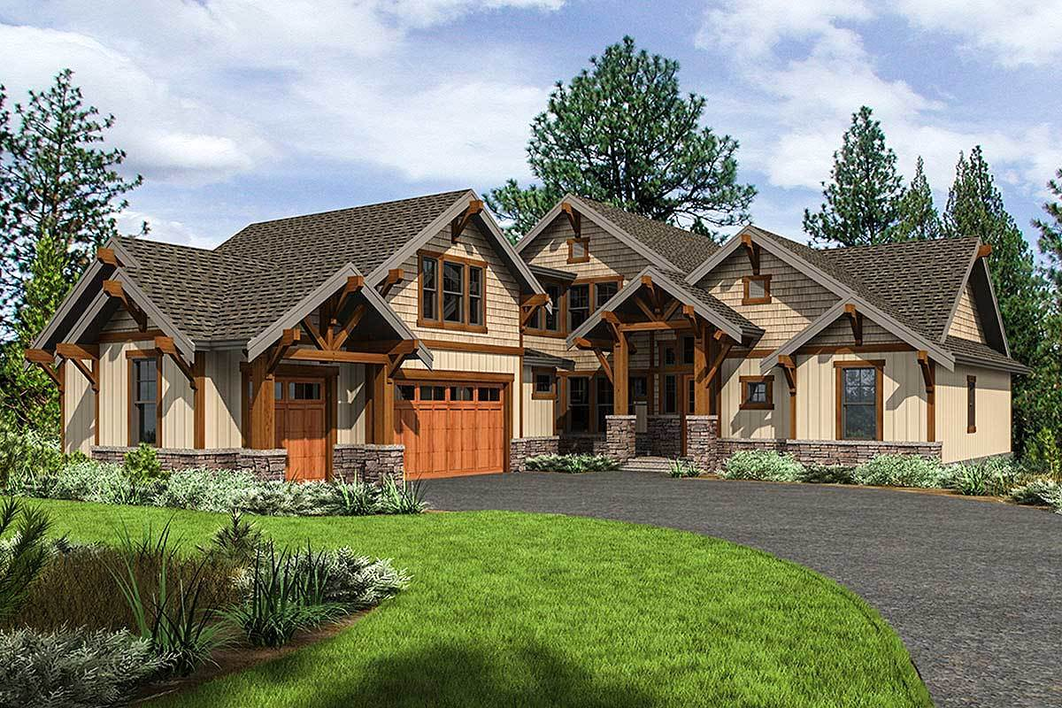 Mountain craftsman home plan with 2 upstairs bedrooms for Upstairs house plans