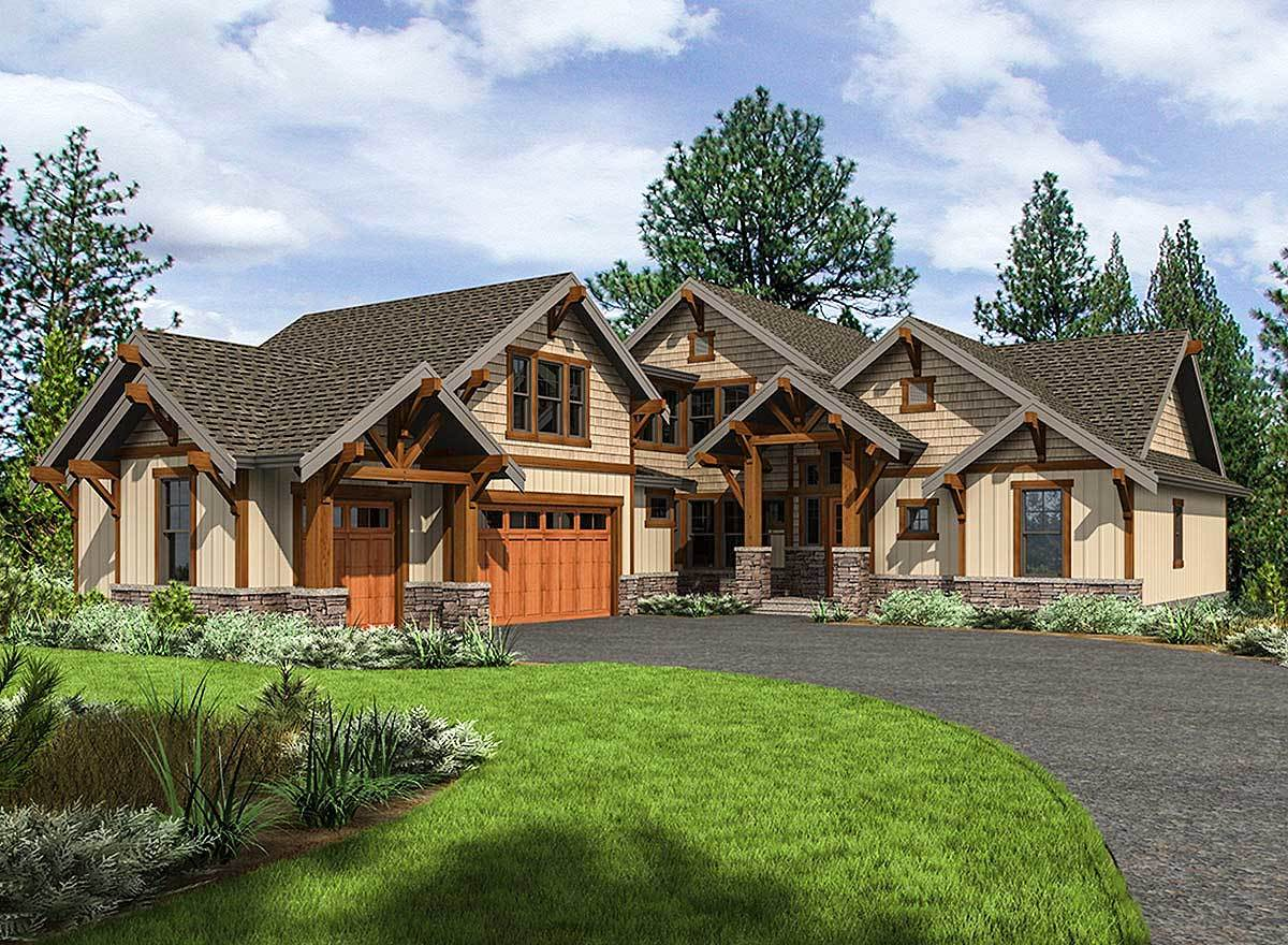 Mountain craftsman house plan with 3 upstairs bedrooms for Home pland