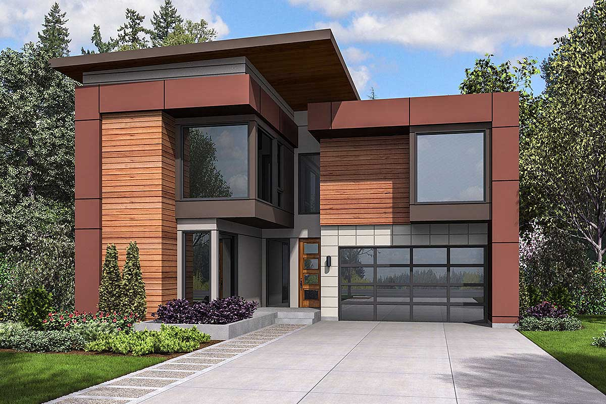 Narrow lot modern house plan 23703jd architectural for Modern plan