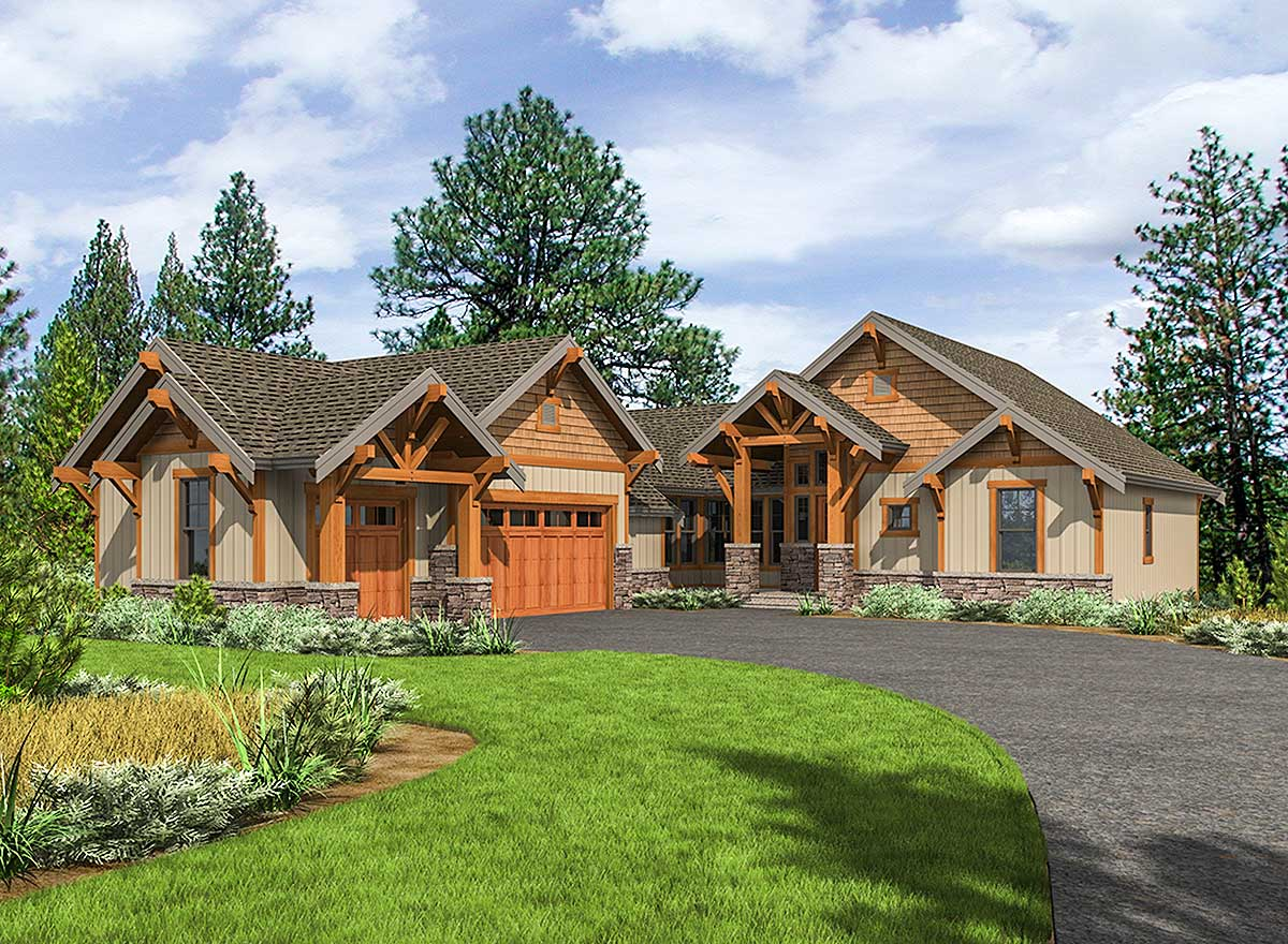 Mountain craftsman with one level living 23705jd for Mountain craftsman house