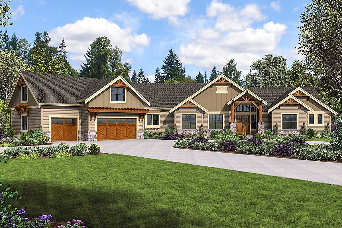 Mountain craftsman home plan with bonus room and optional for Architectural design mountain home