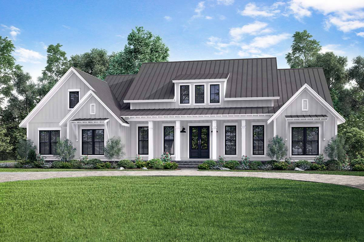 Open concept farmhouse with bonus over garage 51770hz for Farmhouse plans
