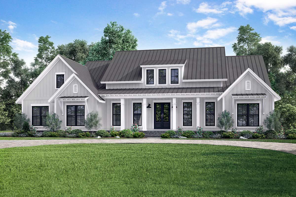 Open-Concept Farmhouse with Bonus Over Garage - 51770HZ ...