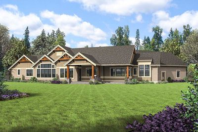 Mountain Ranch Home Plan with RV Garage - 23707JD | Architectural ...
