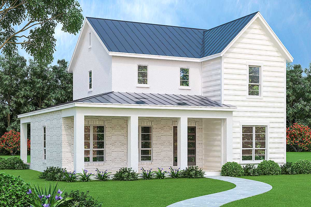 3 bed farmhouse with brick stone and stucco exterior - Stone house designs and floor plans ...