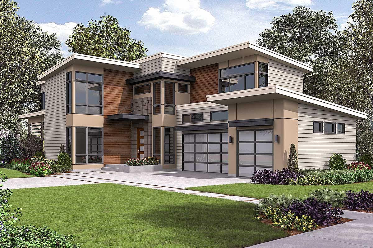 Spacious Contemporary House Plan - 23713JD