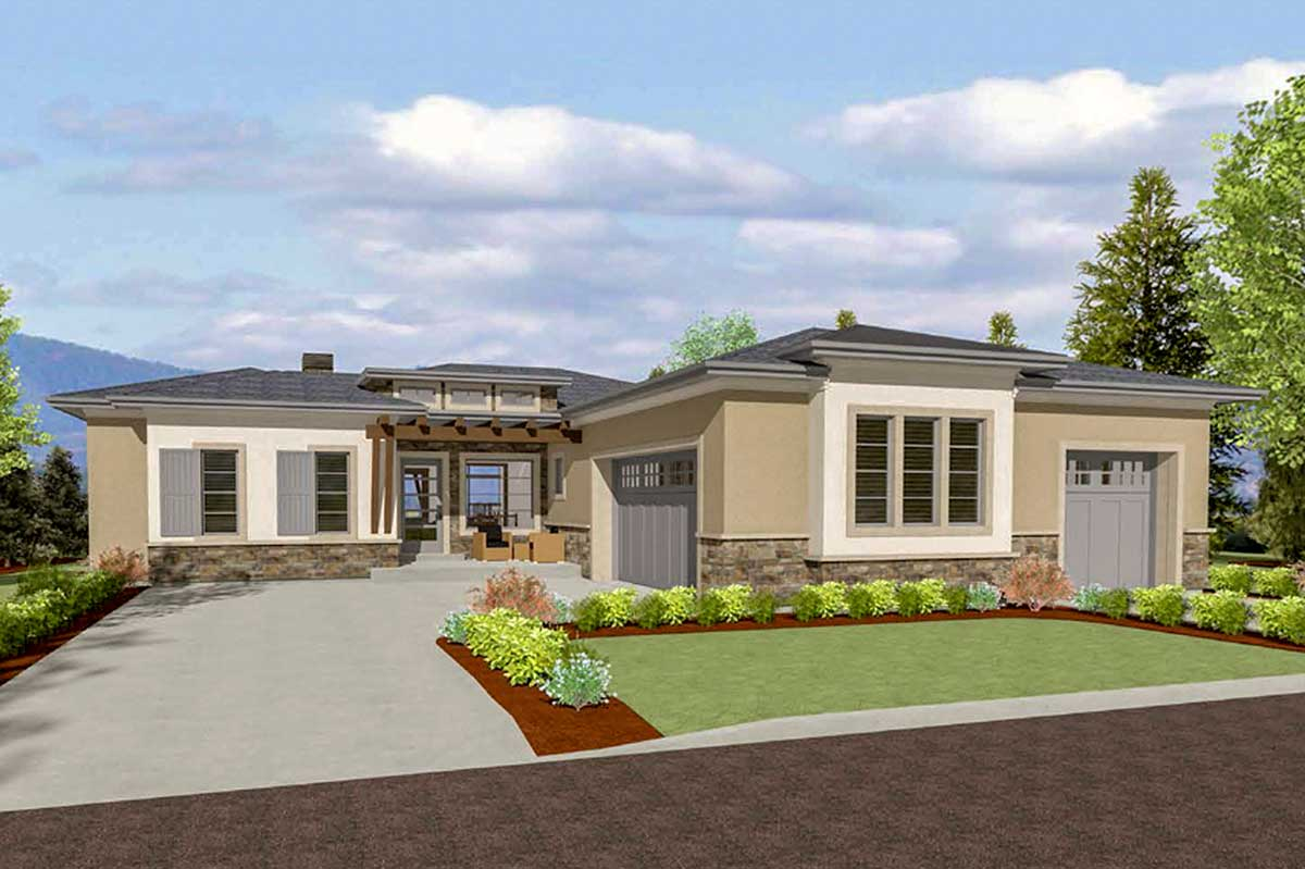 64447sc rendering front 1522848570 - View Small Modern House Designs With Garage  Background