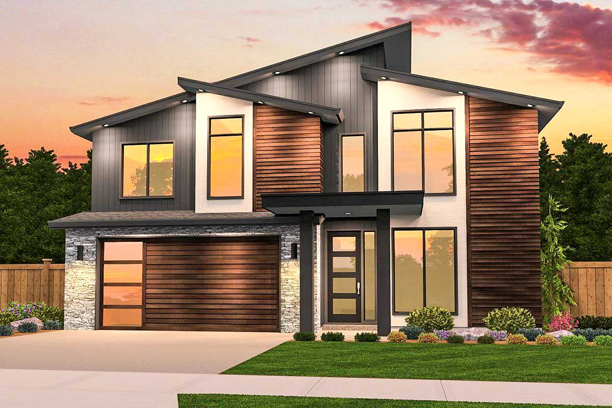 Angular modern with 3 upstairs bedrooms 85208ms for Upstairs house plans