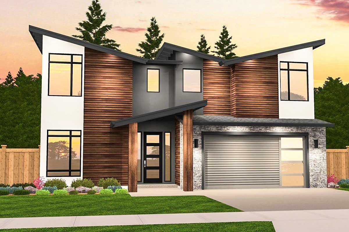 Angular Modern House Plan with 3 Upstairs Bedrooms - 85209MS  Architectural Designs - House Plans