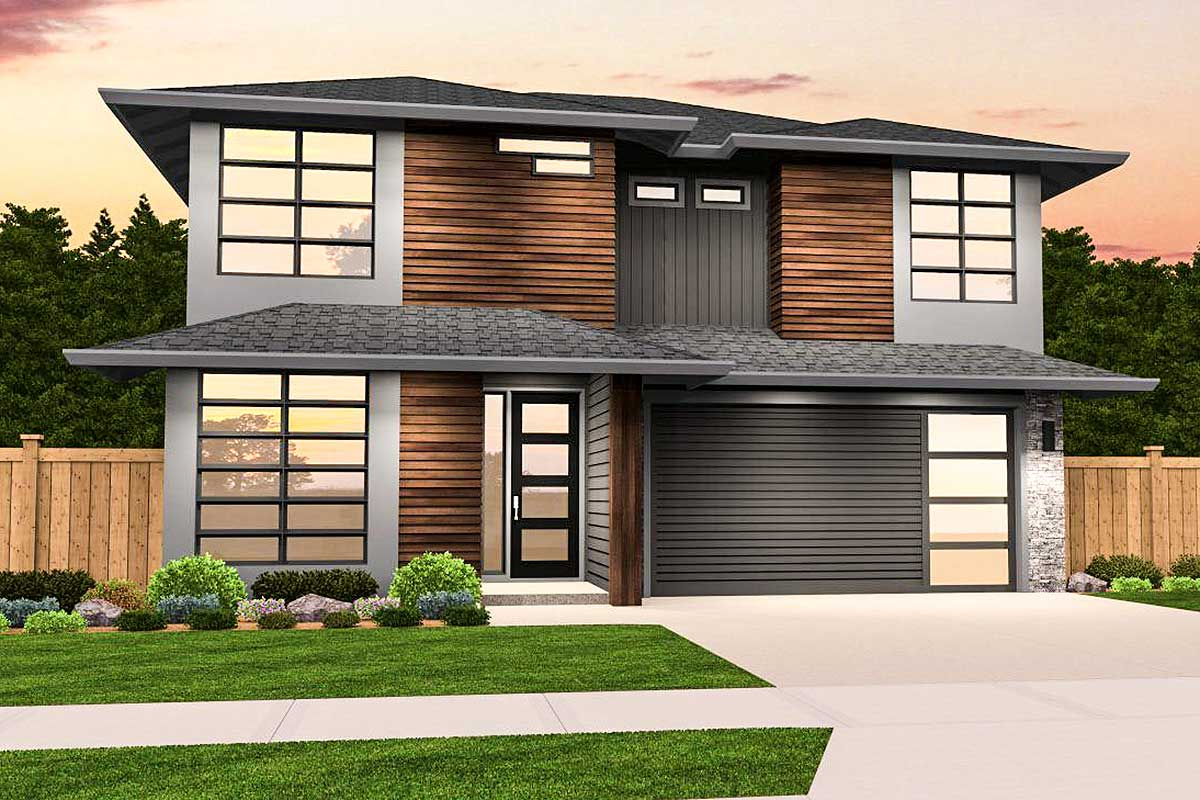Narrow 3 bed modern prairie home plan 85206ms for Prairie house plans designs