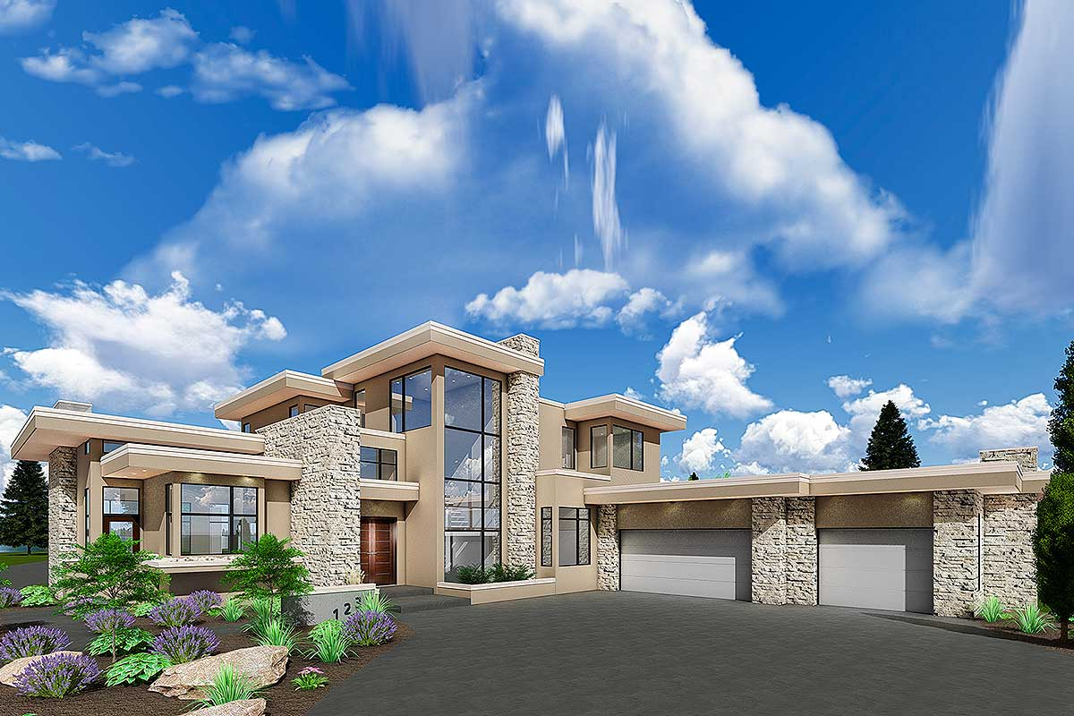 Luxury Modern House Plan with Upstairs Master Retreat ...