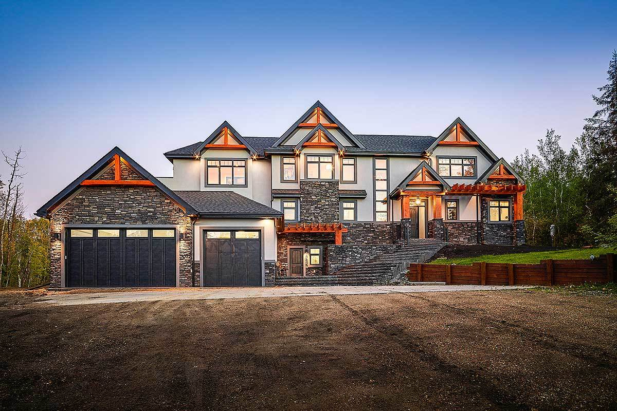 Rugged modern mountain craftsman house plan with optional for Modern craftsman home plans