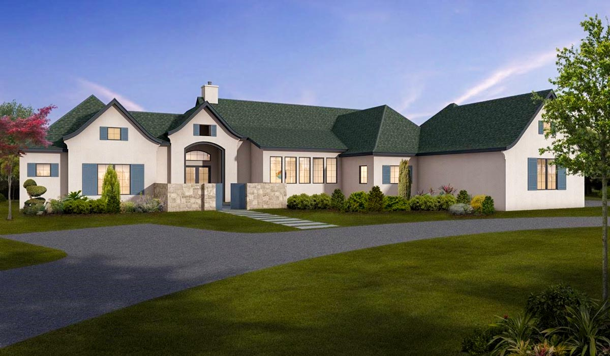 One story european house plan with game room 430026ly for European house plans one story