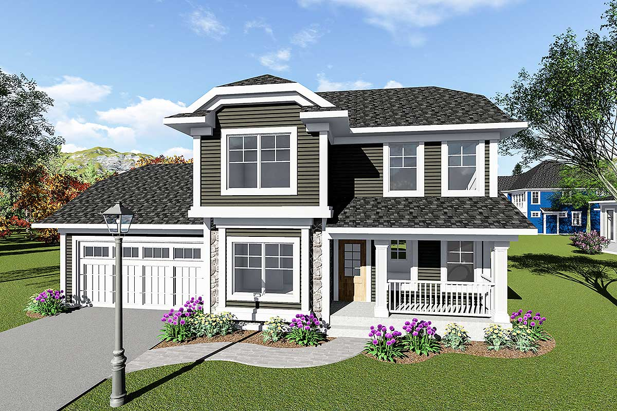 Two story house plan with front to back great room for House plans with great room in front