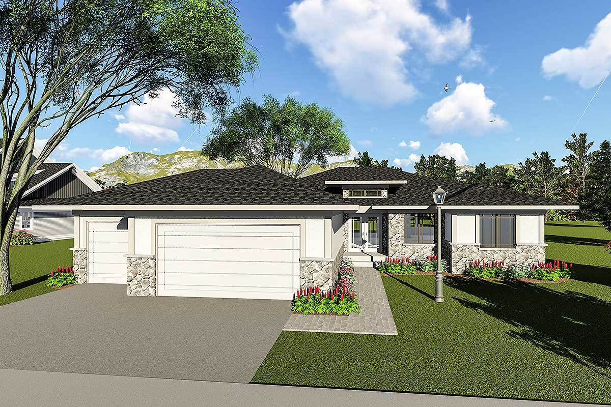 Two Bedroom Contemporary Ranch House Plan - 890049AH ...