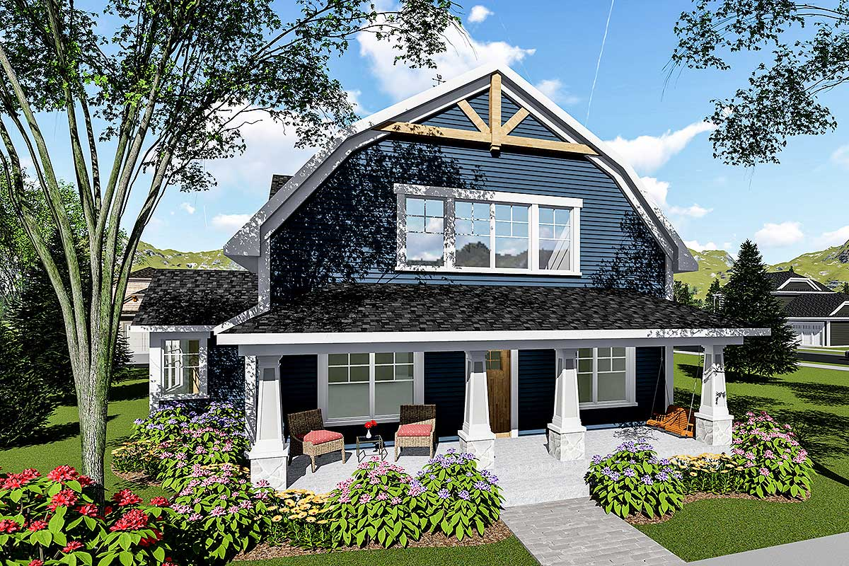 3 bed house plan with gambrel roof 890051ah for Gambrel house designs