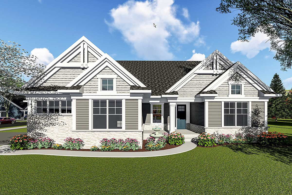 Two Bedroom Craftsman Ranch House Plan - 890052AH ...