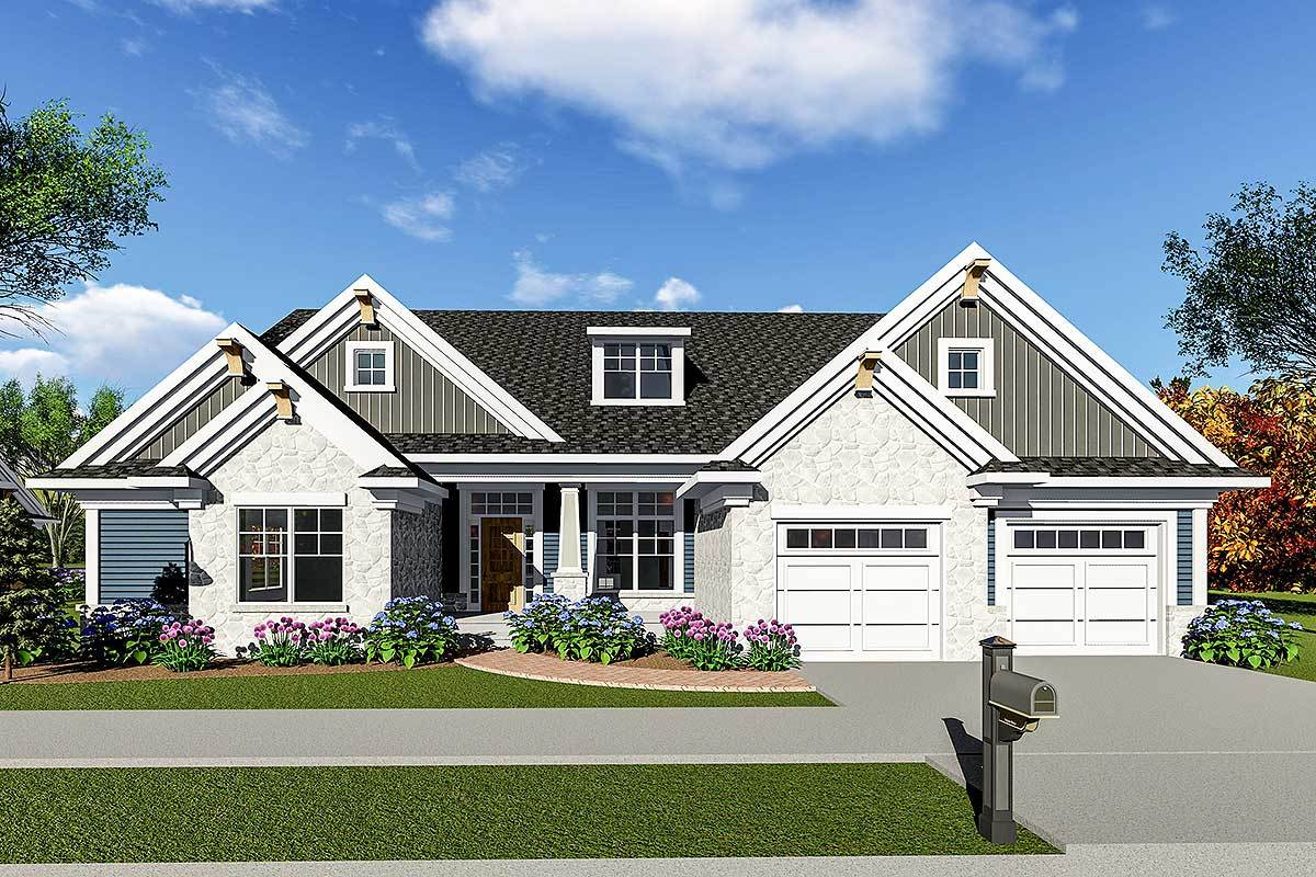 Craftsman House Plan with Optional Bonus Space