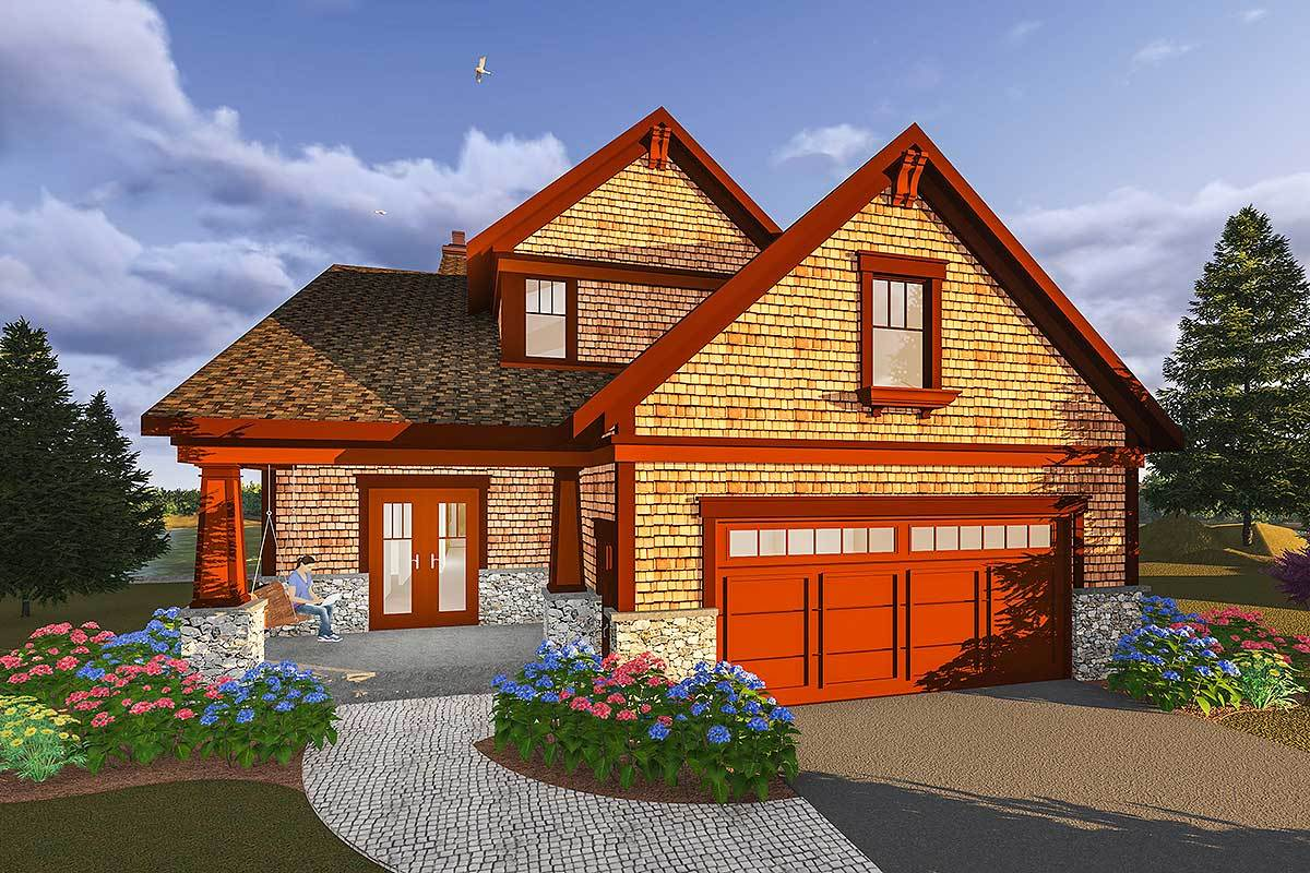 Rustic craftsman house plan for a narrow lot 890065ah for Craftsman home plans for narrow lots