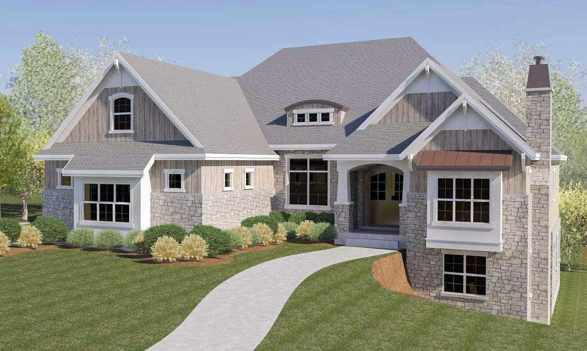 Craftsman house plan with rv garage and walkout basement for Home plans with basement garage