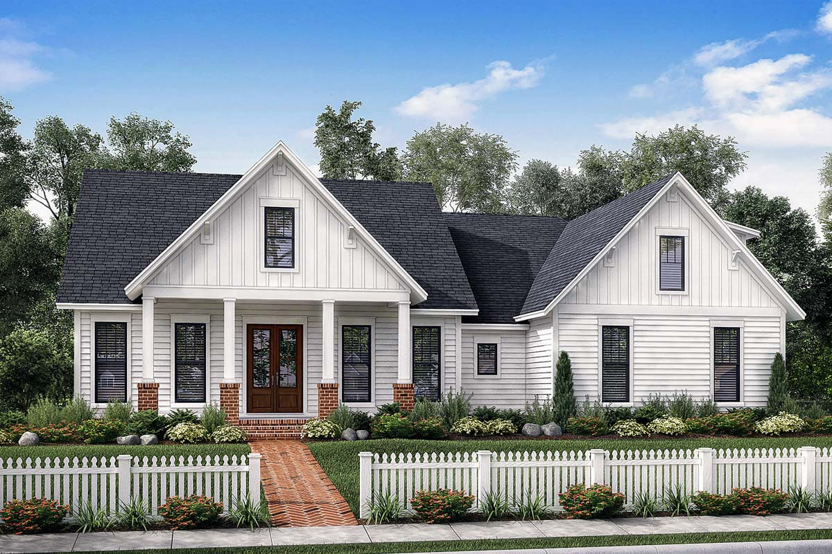 Exclusive farmhouse with bonus room and side load garage for Side load garage house plans