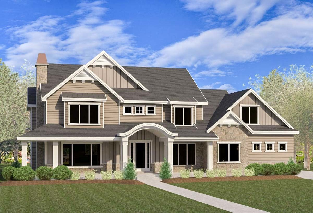 Five or six bedroom craftsman farmhouse 290051iy for 6 bedroom farmhouse floor plans
