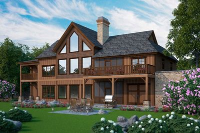Big dogtrot house plan 92383mx architectural designs for Dogtrot modular homes