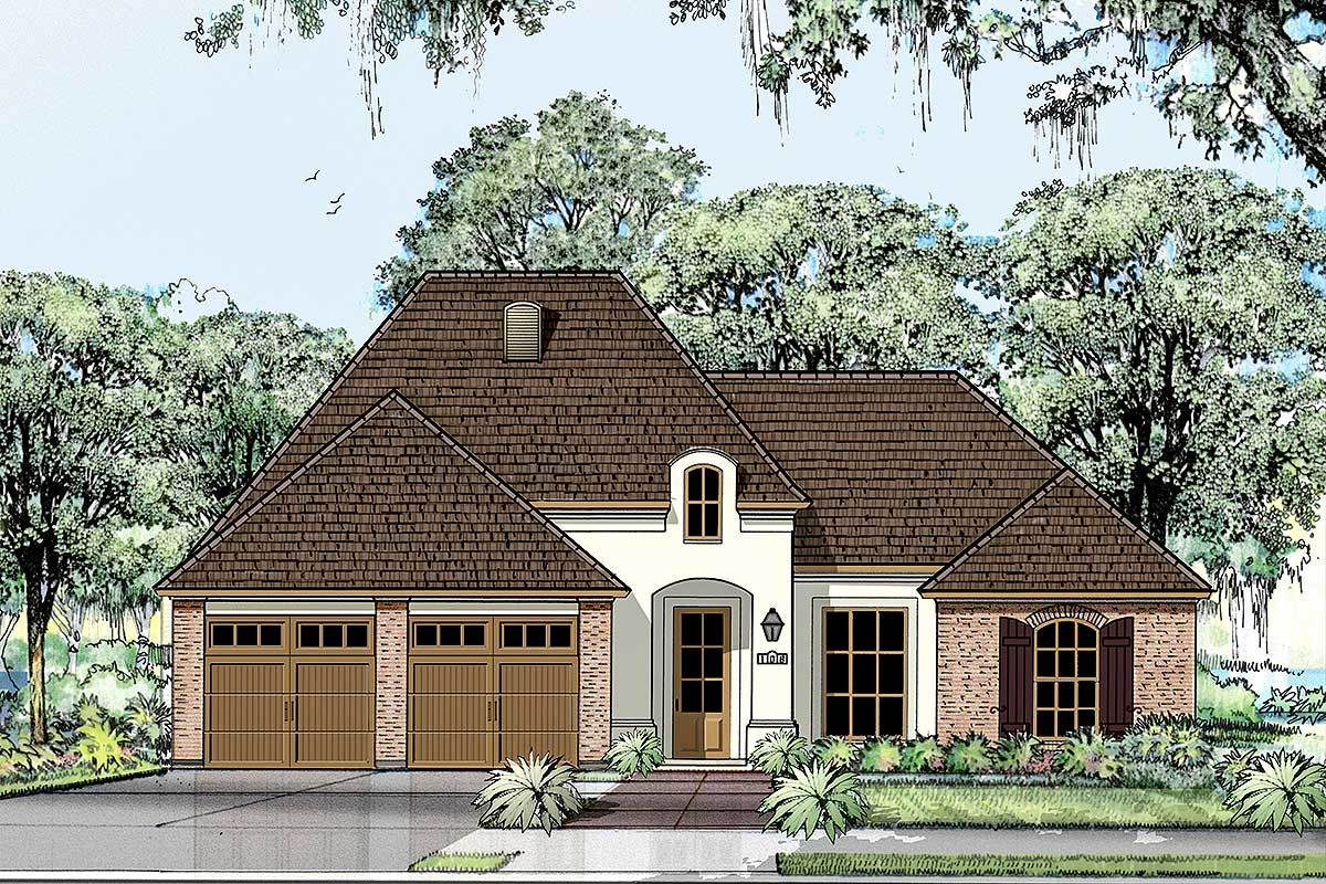 Graceful one story acadian house plan 860004mcd for 2 story acadian house plans