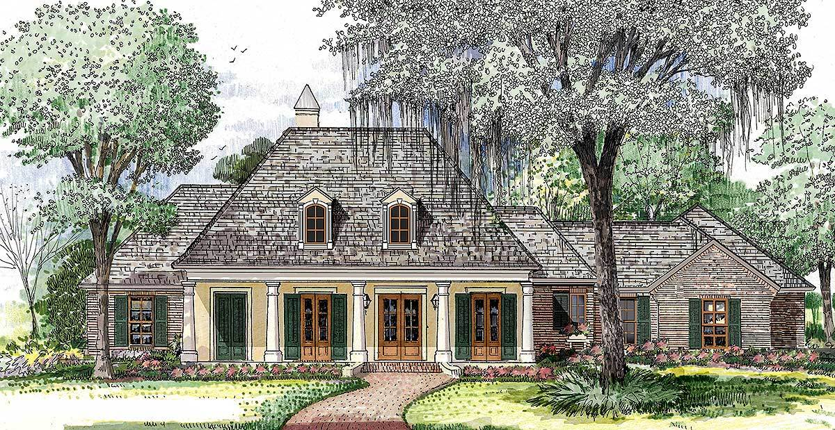 4 Bed Acadian House Plan With 3 Car Garage 860011mcd