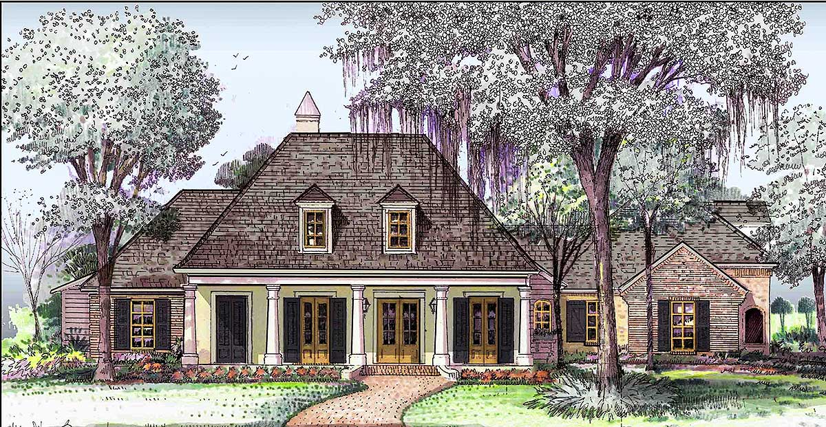 Southern traditional house plan with large bonus room for Traditional southern house plans