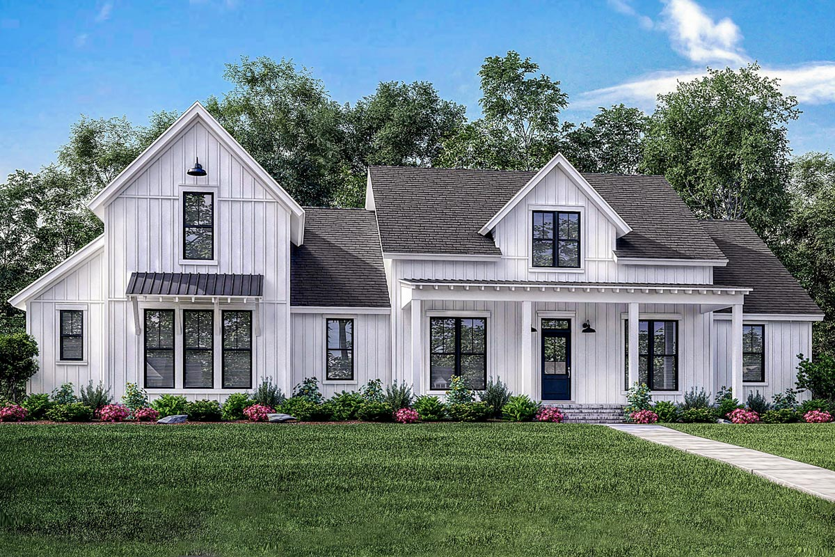 4 bed modern farmhouse with bonus over garage 51773hz for Architectural designs farmhouse