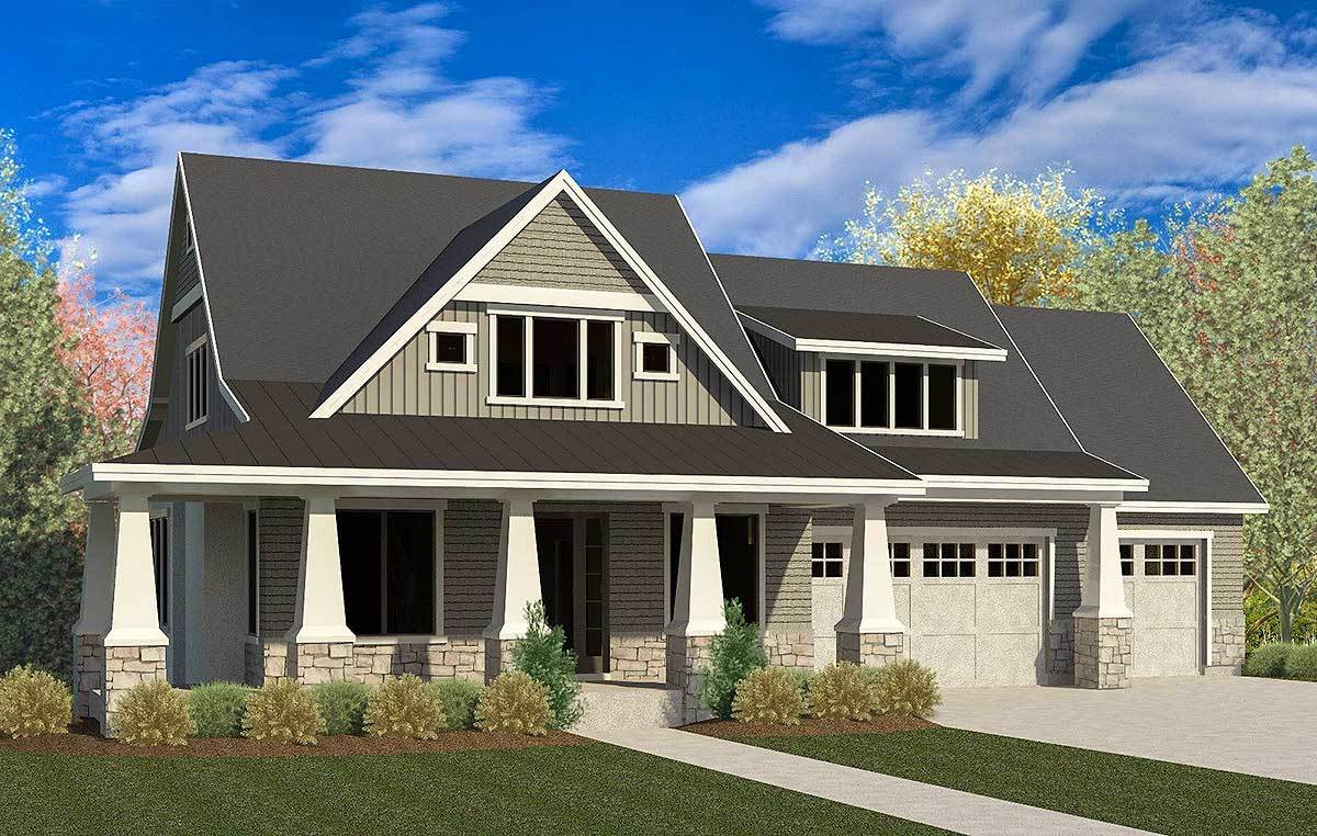 Craftsman house plan with 3 car garage and master on main for Craftsman house plans 3 car garage