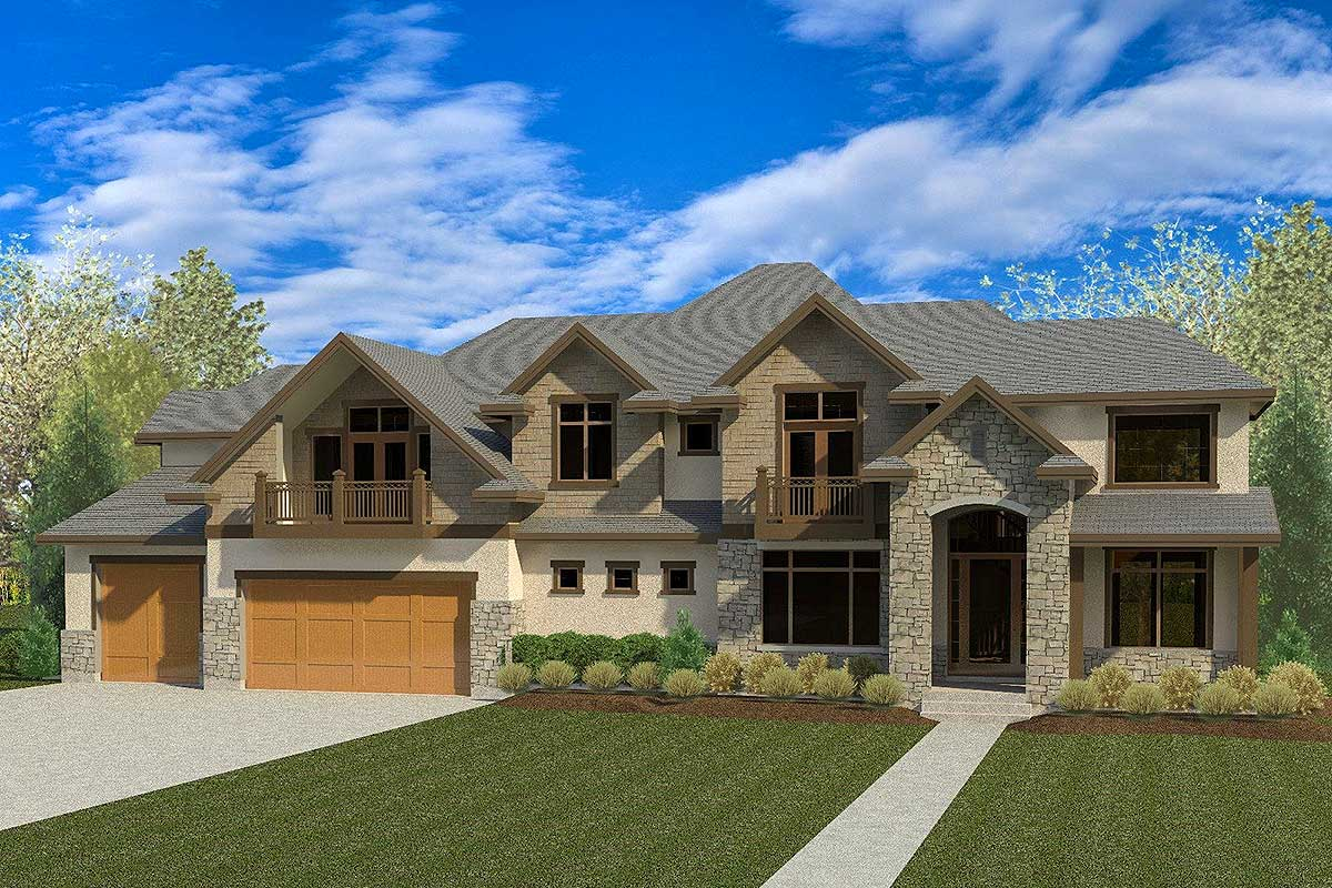 Rugged craftsman house plan with master balcony 290076iy for House plans with balcony