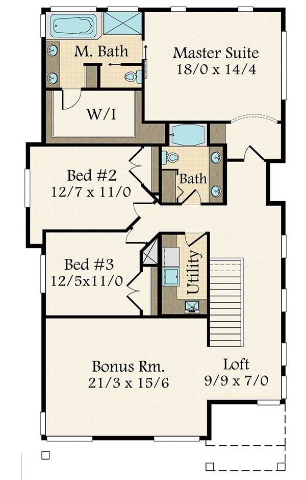 Modern northwest prairie style house plan with 4 beds for Prairie style homes floor plans