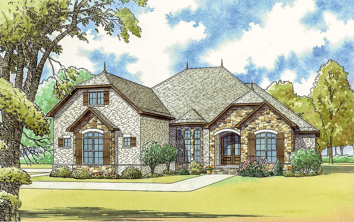 3 bed french country house plan with bonus room over for Country garage plans