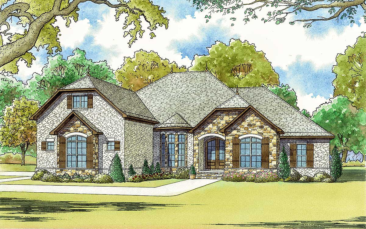 4 bed french country house plan with bonus room over for French country garage plans