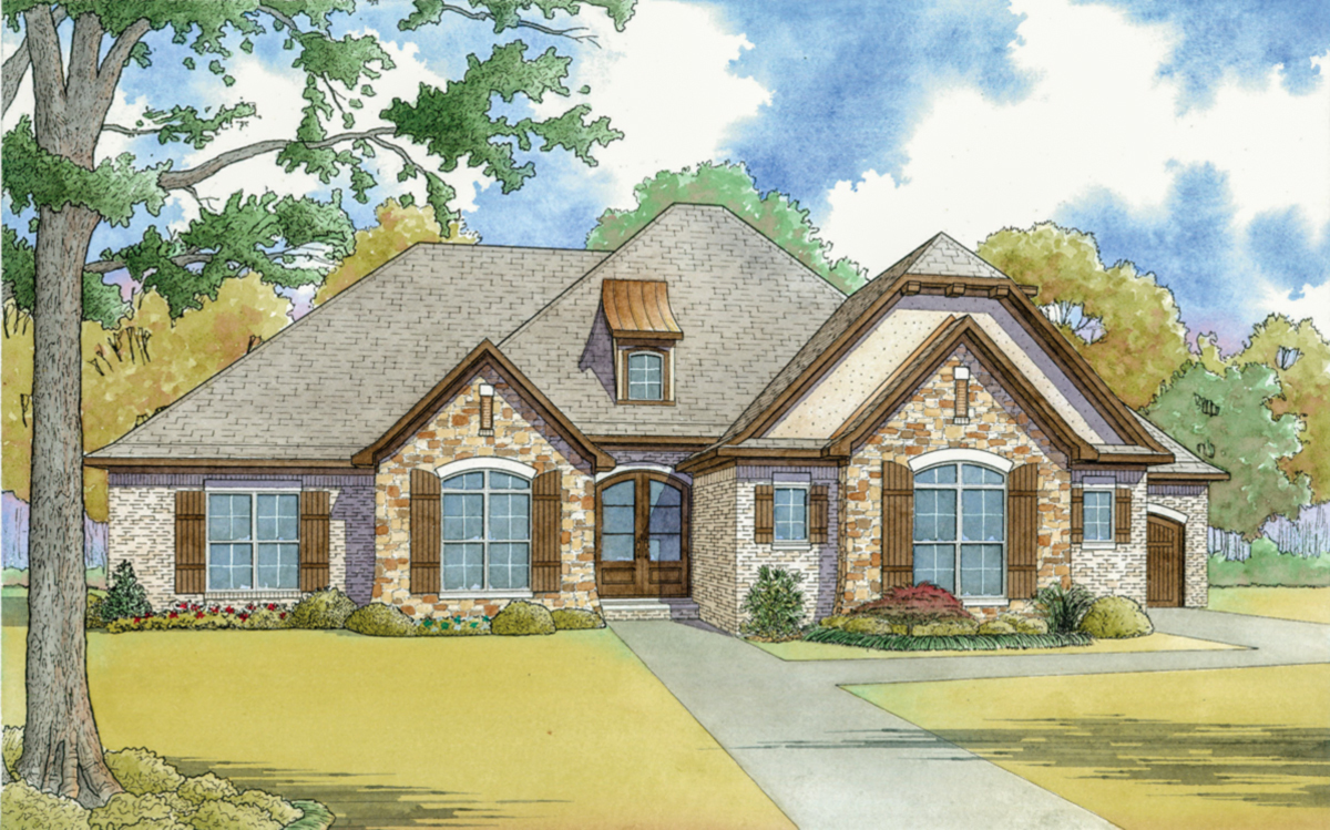 French country house plan with vaulted master suite for Large french country house plans
