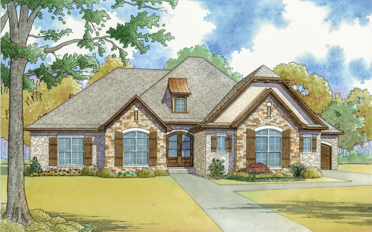 French country house plan with vaulted master suite for Country house plans under 2000 square feet