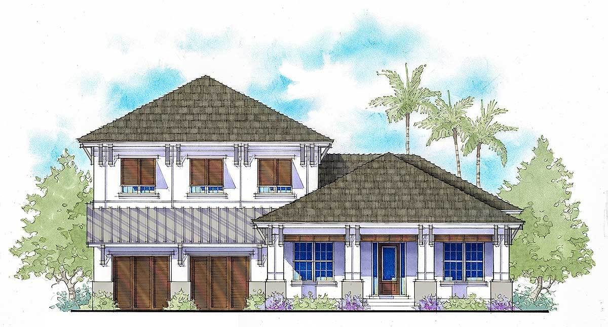Two story west indies style house plan with two master for West indies style home plans