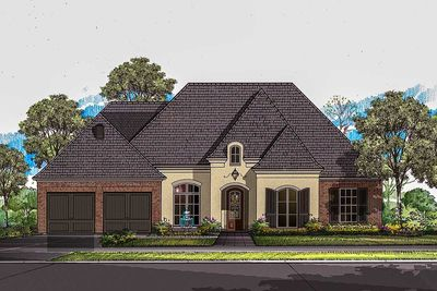 3 bed french country style house plan with brick and for French country brick exterior