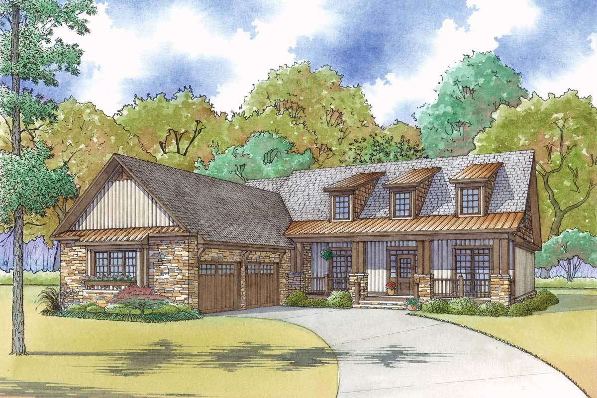 Craftsman house plan with courtyard garage and rustic for Rustic craftsman house plans